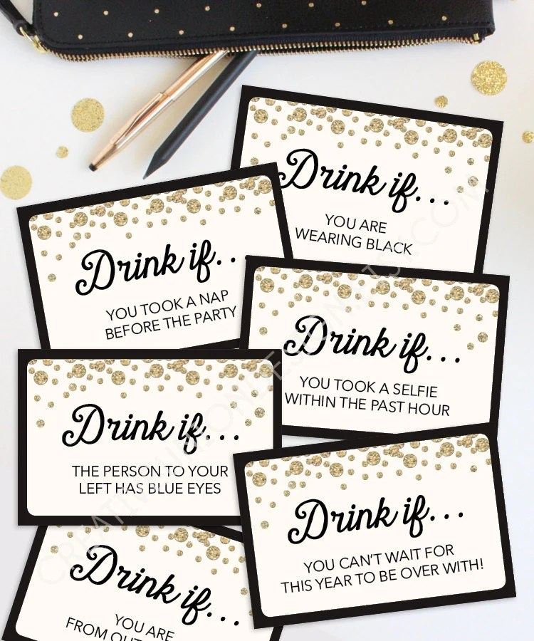 New Years Eve Game Drink If Game Printable New Year\u0027s Etsy