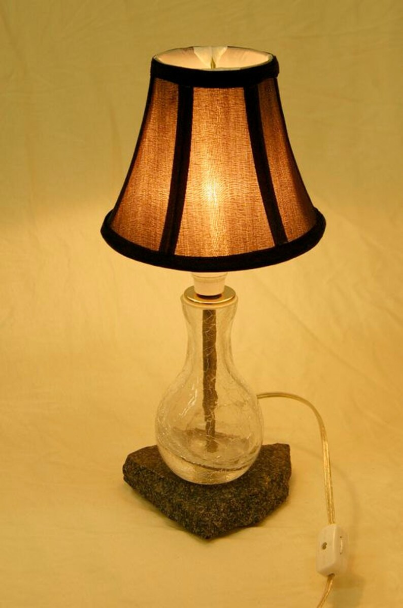 Glass Crackle Lamp Recycled Crackle Glass Bottle Table Lamp W Granite Base