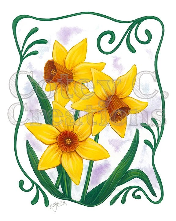 Art Nouveau Yellow Yellow Daffodil Art Nouveau Floral Wall Art