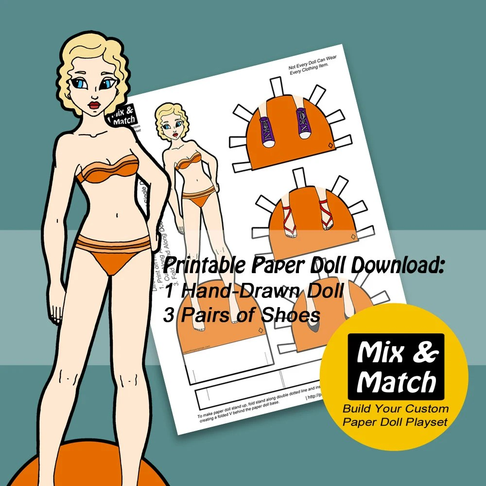 Mix  Match Digital Paper Doll Download Printable Paper Doll Etsy