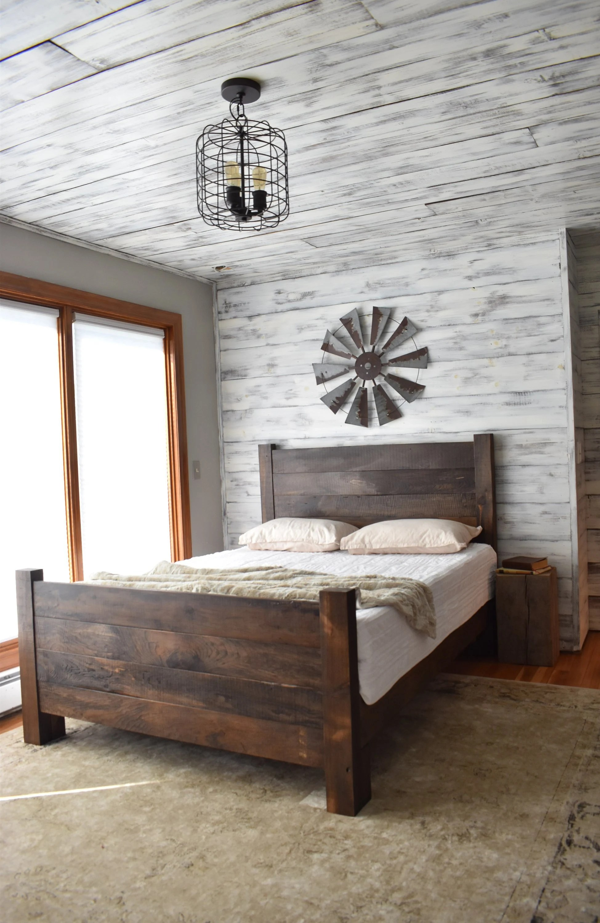 Bed Queen Wood Bed Frame Platform Bed Queen Bed King Headboard Modern Farmhouse Bedroom Furniture