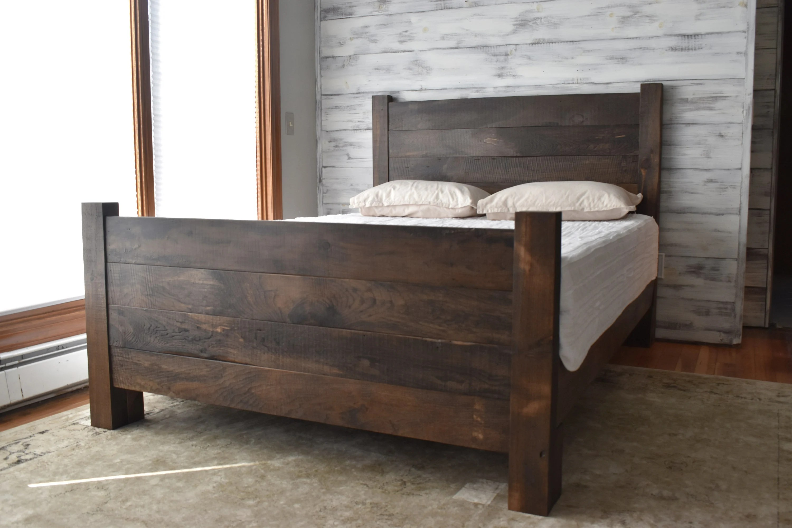 Queen Bed Frame Wood Bed Frame Platform Bed Queen Bed King Headboard Modern Farmhouse Bedroom Furniture