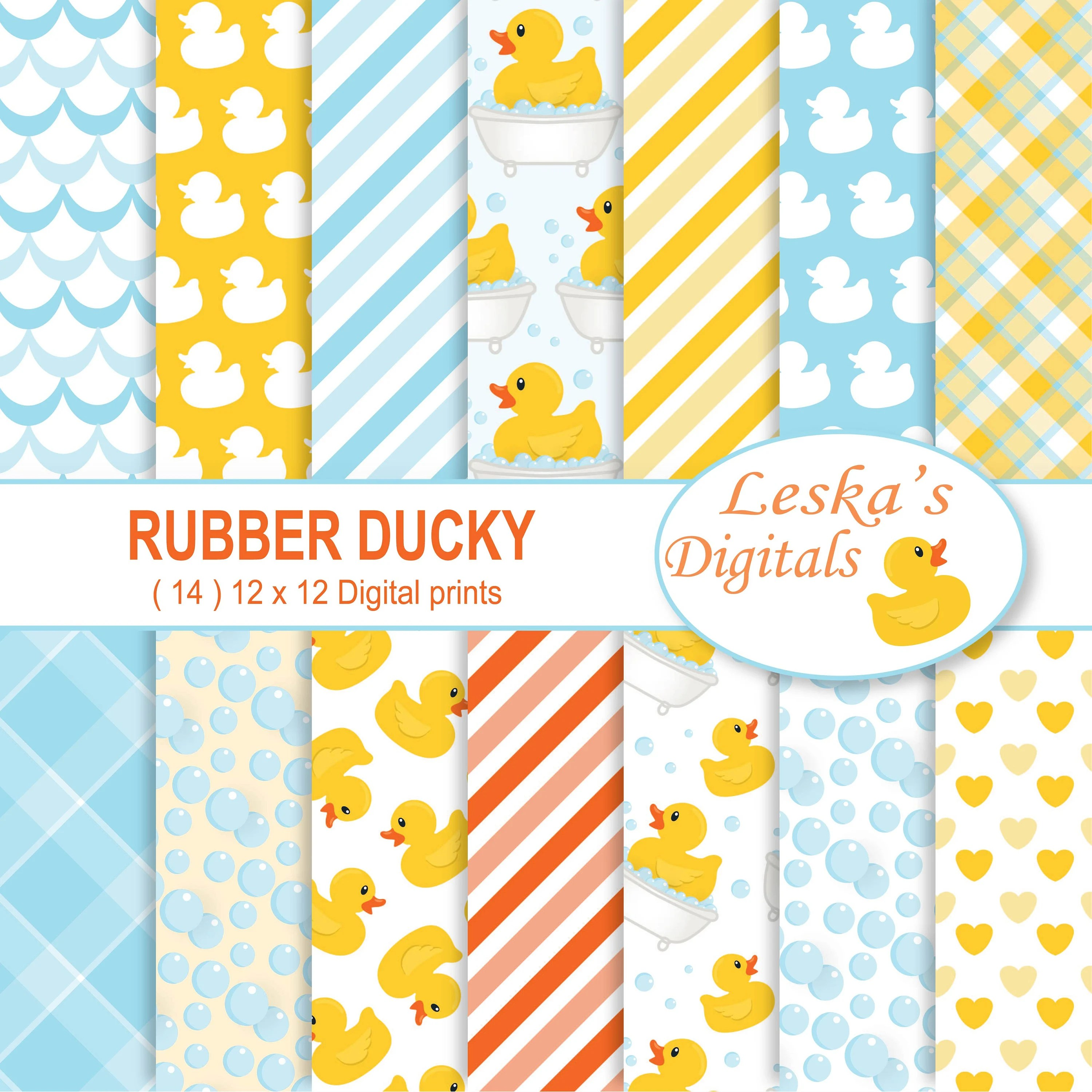Rubber Duck Digital Paper Rubber Ducky Scrapbook Paper Duck Etsy
