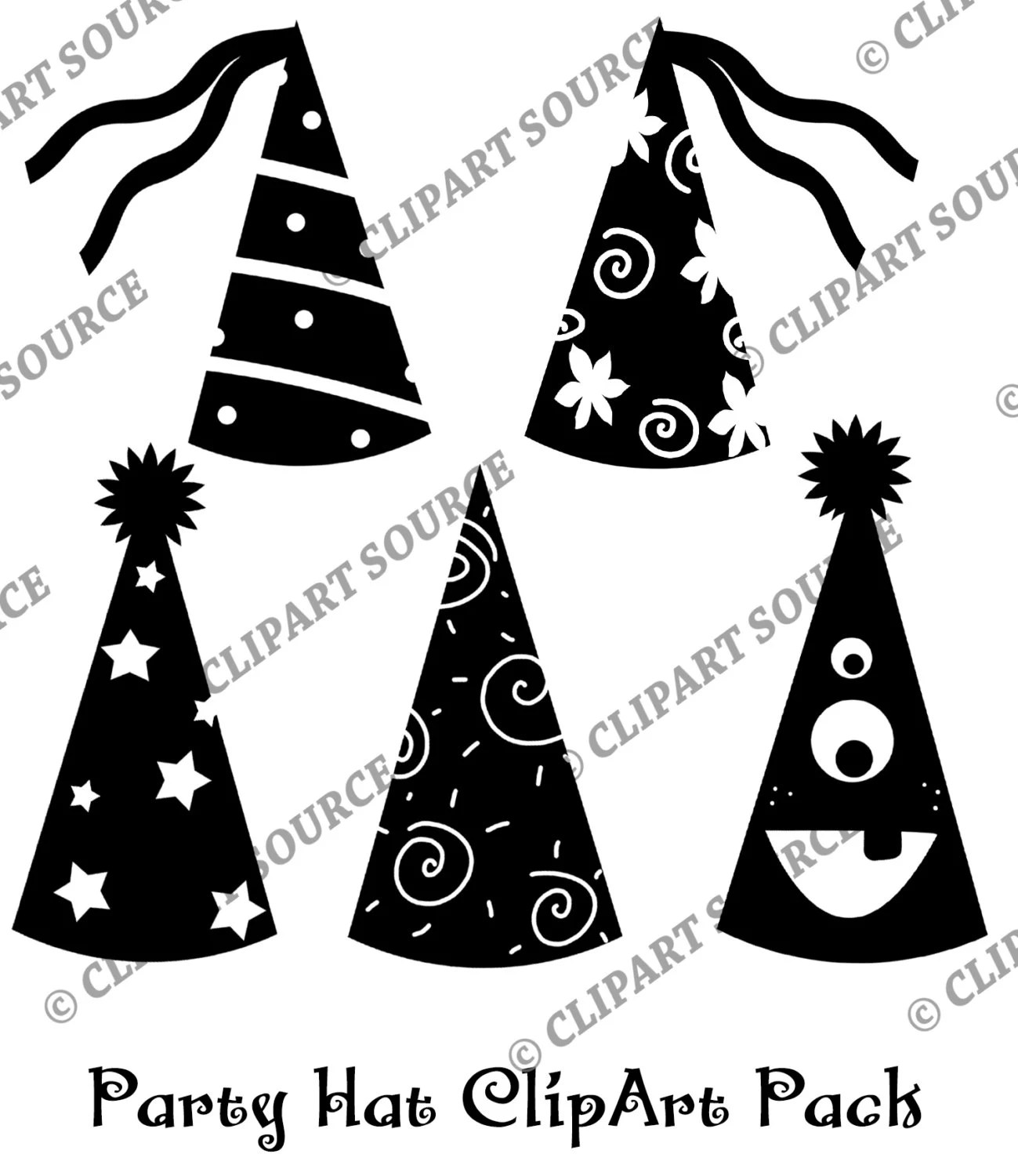 Party Hat Clipart Black And White Clip Art Party Hat Silhouette Scrapbooking File Commercial Use