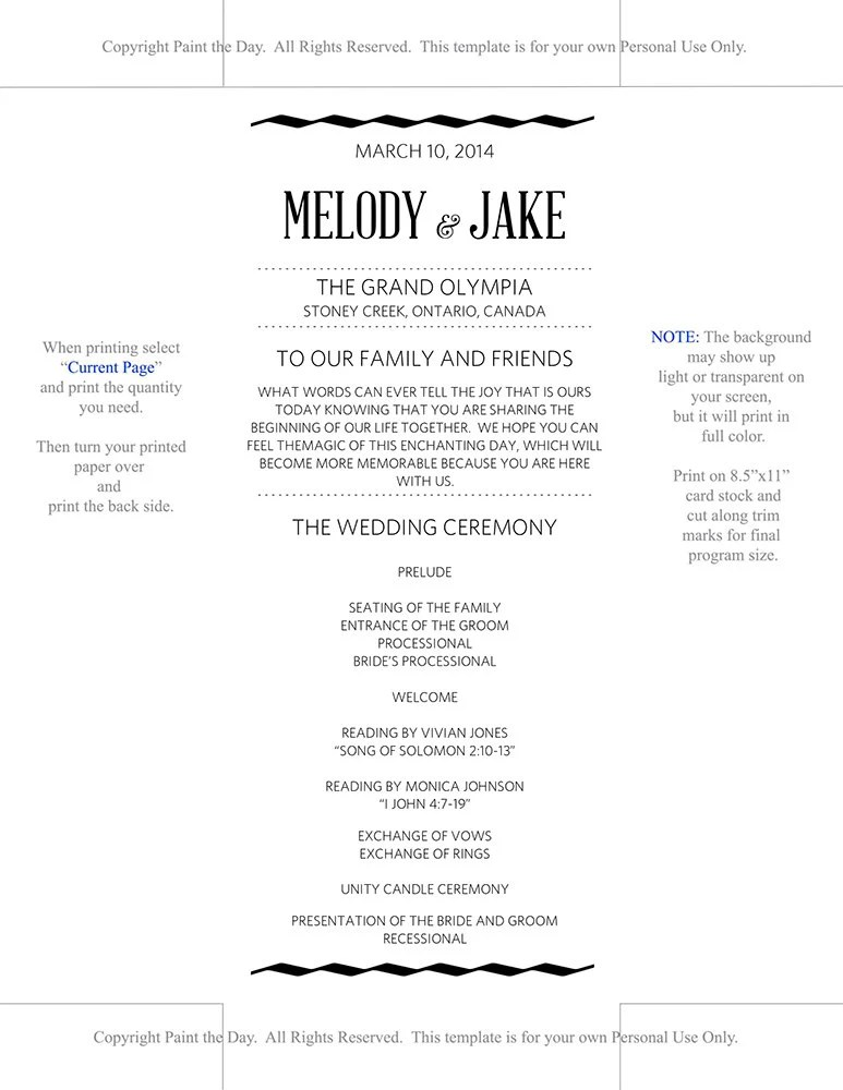 DIY Wedding Program Template - Wedding Ceremony Program - \