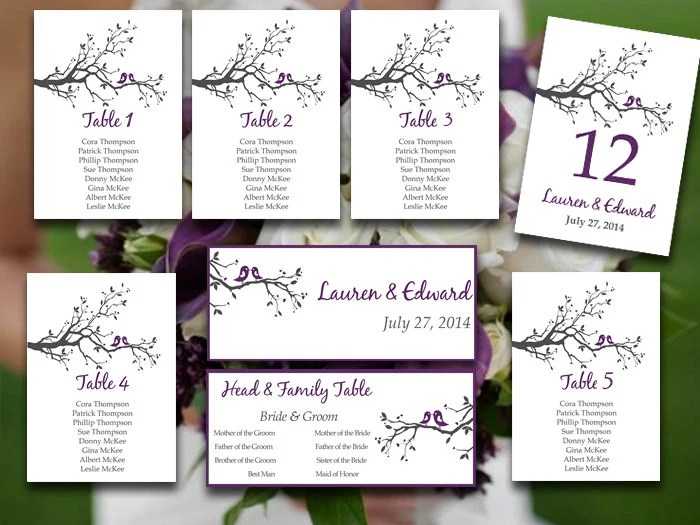 Wedding Seating Chart Template Love Bird Seating Chart Etsy