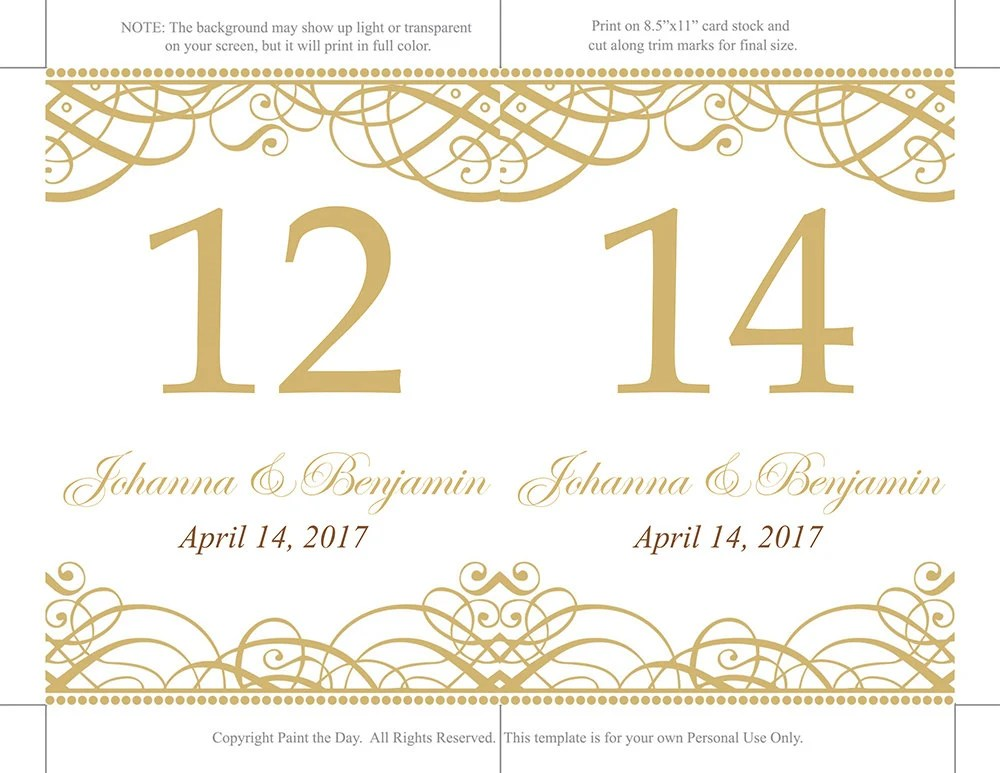 Printable Wedding Table Number Template Download Flourish Etsy