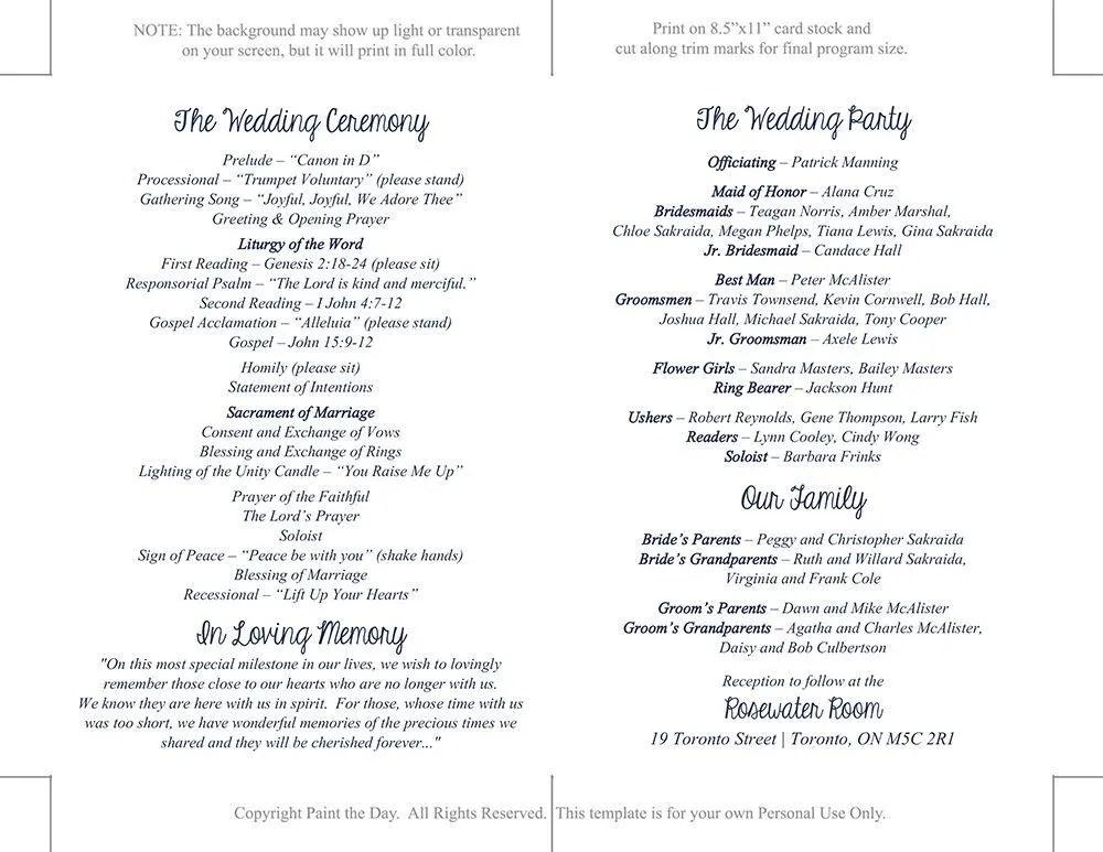 Catholic Wedding Program Template Printable Fold Over Etsy