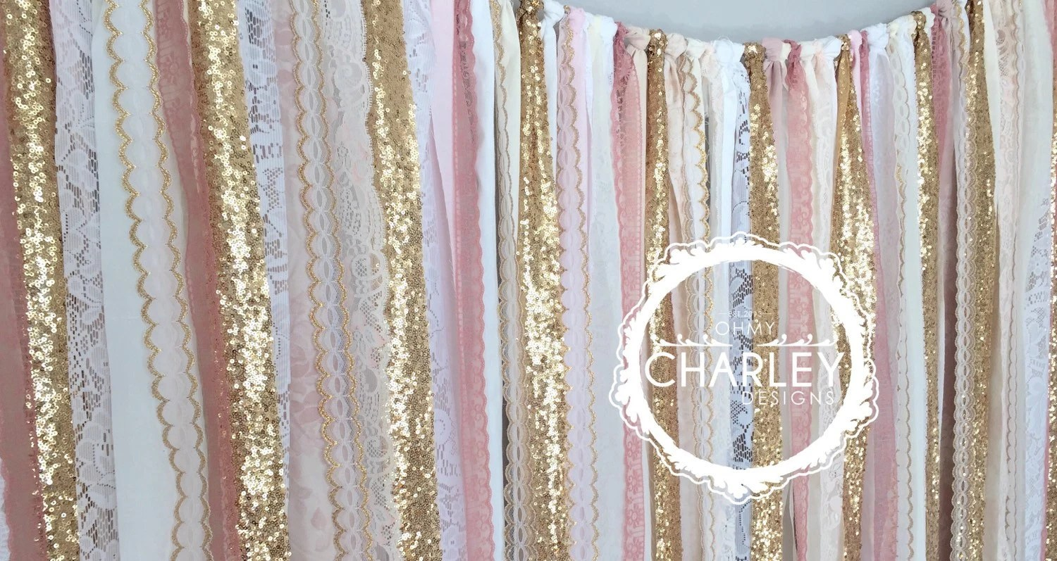 Pink Sequin Curtains Pink Gold Sparkle Sequin Fabric Backdrop With Lace Wedding Garland Photo Prop Curtain Baby Shower Crib Garland