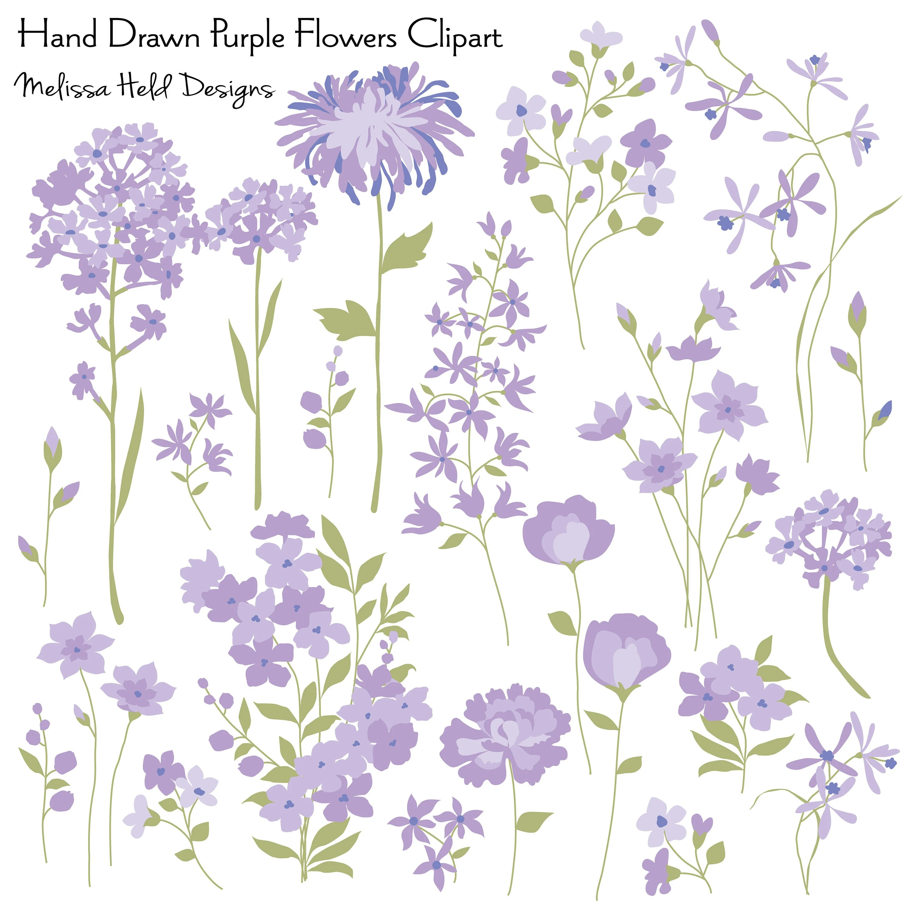 Hand Drawn Purple Flowers Clipart Etsy