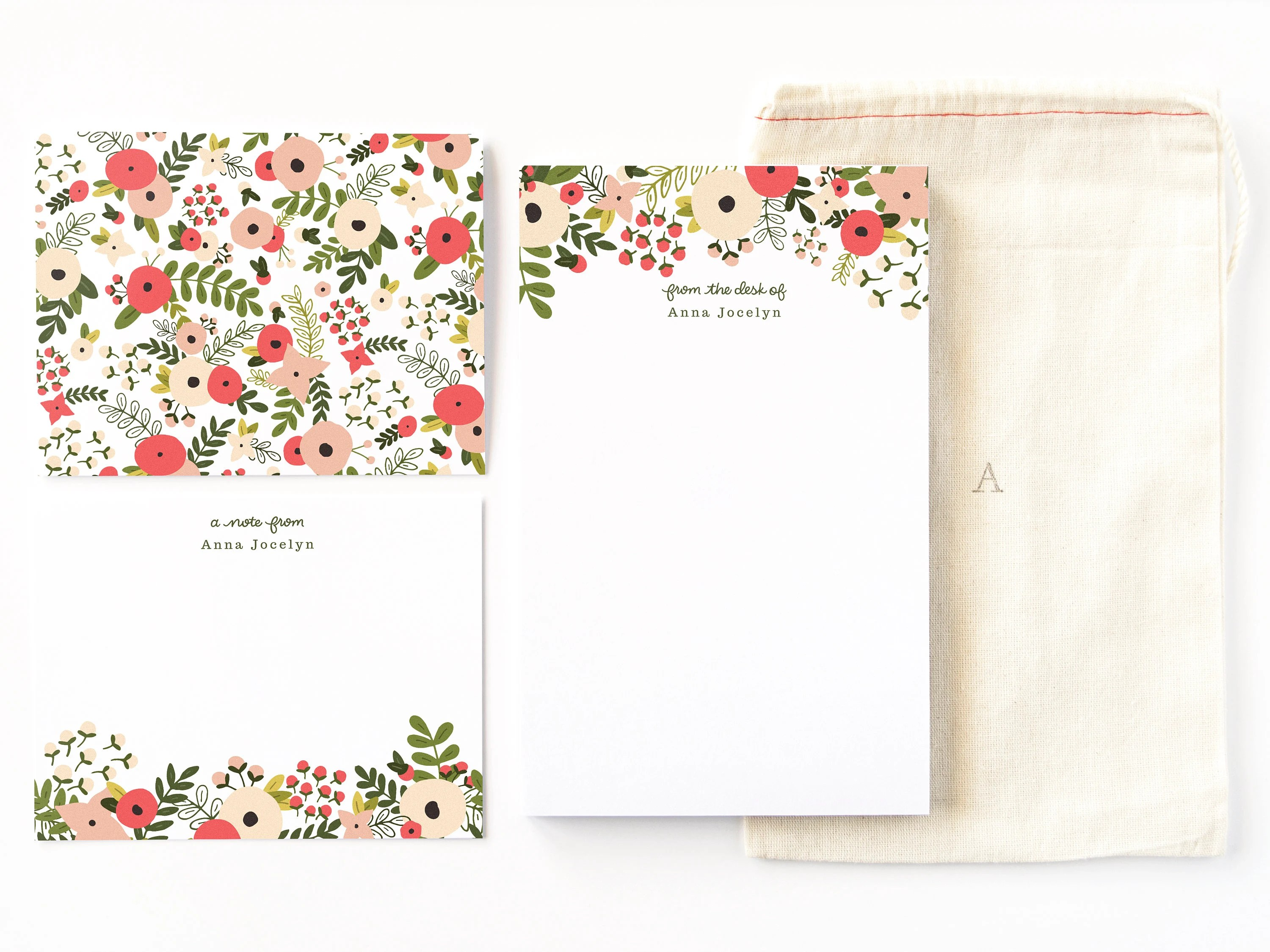 Personalized Stationery Set Illustrated Floral Stationery Etsy