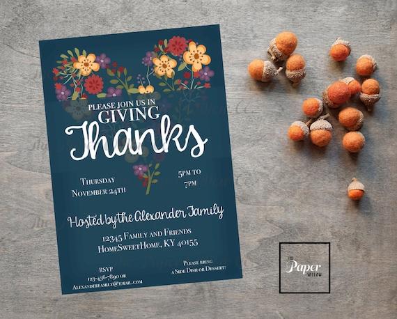 Giving Thanks Printable Invitation Thanksgiving Holiday