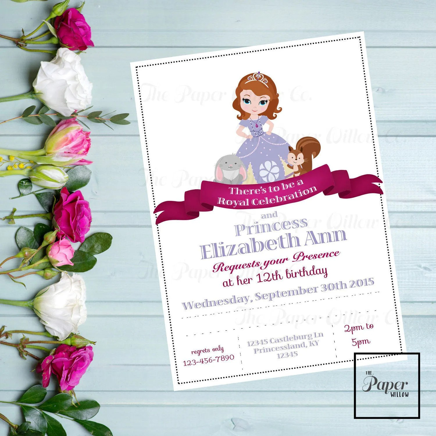 Sofia BIRTHDAY Invite-Printable Invitation-Print Yourself-INSTANT
