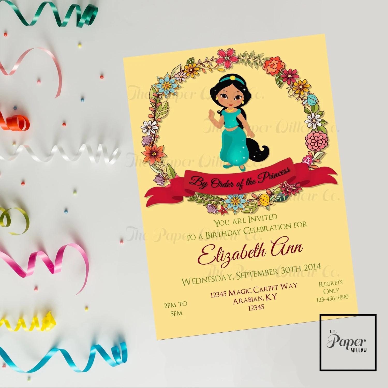 Jasmine-Birthday Invitation-INSTANT DOWNLOAD-Editable PDF File