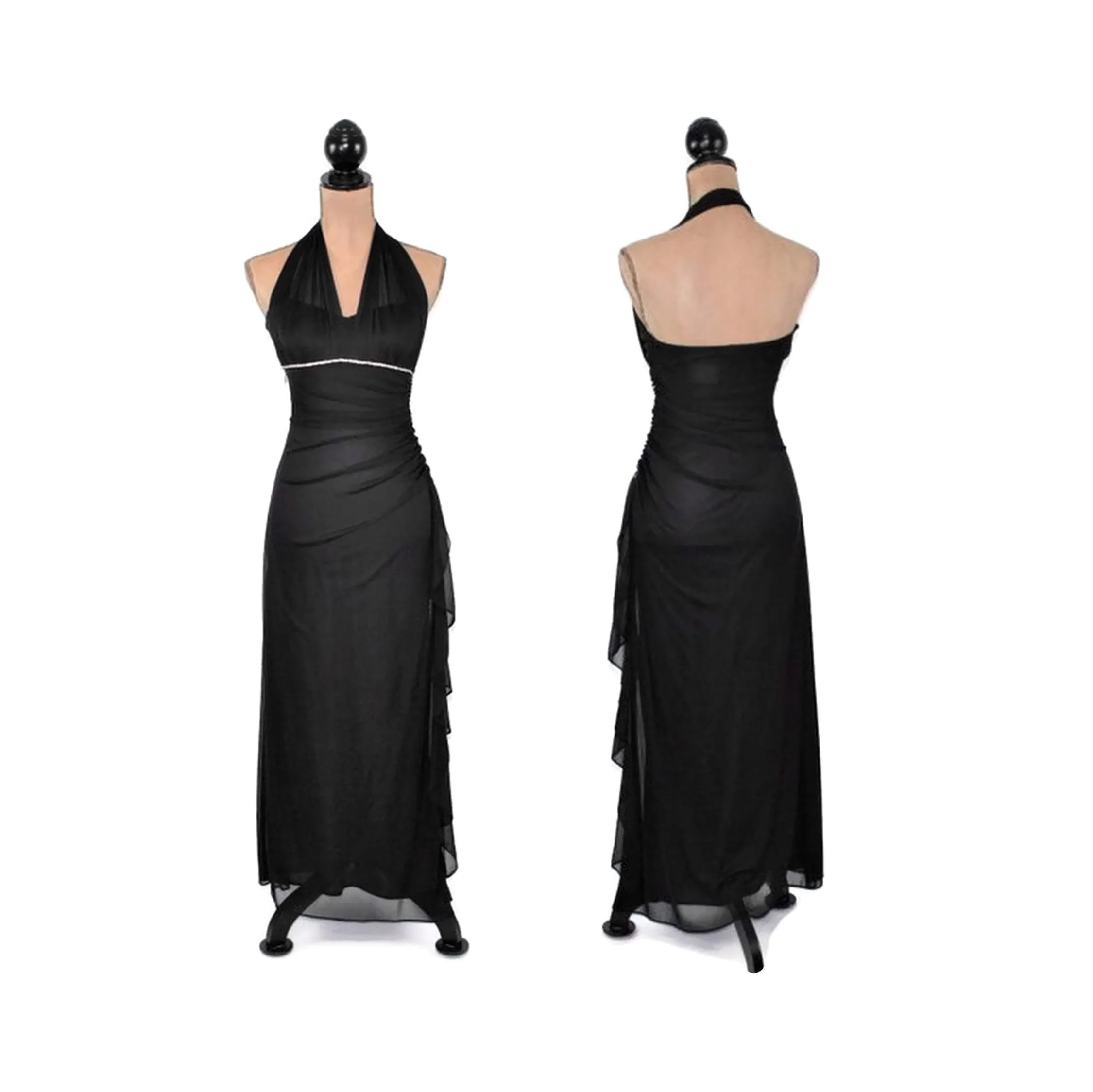 Xs Long Sexy Formal Dress Women Xs Long Black Chiffon Halter Dress Evening Cocktail Party Prom Rhinestones V Neck Ruched Fitted Vintage Clothing