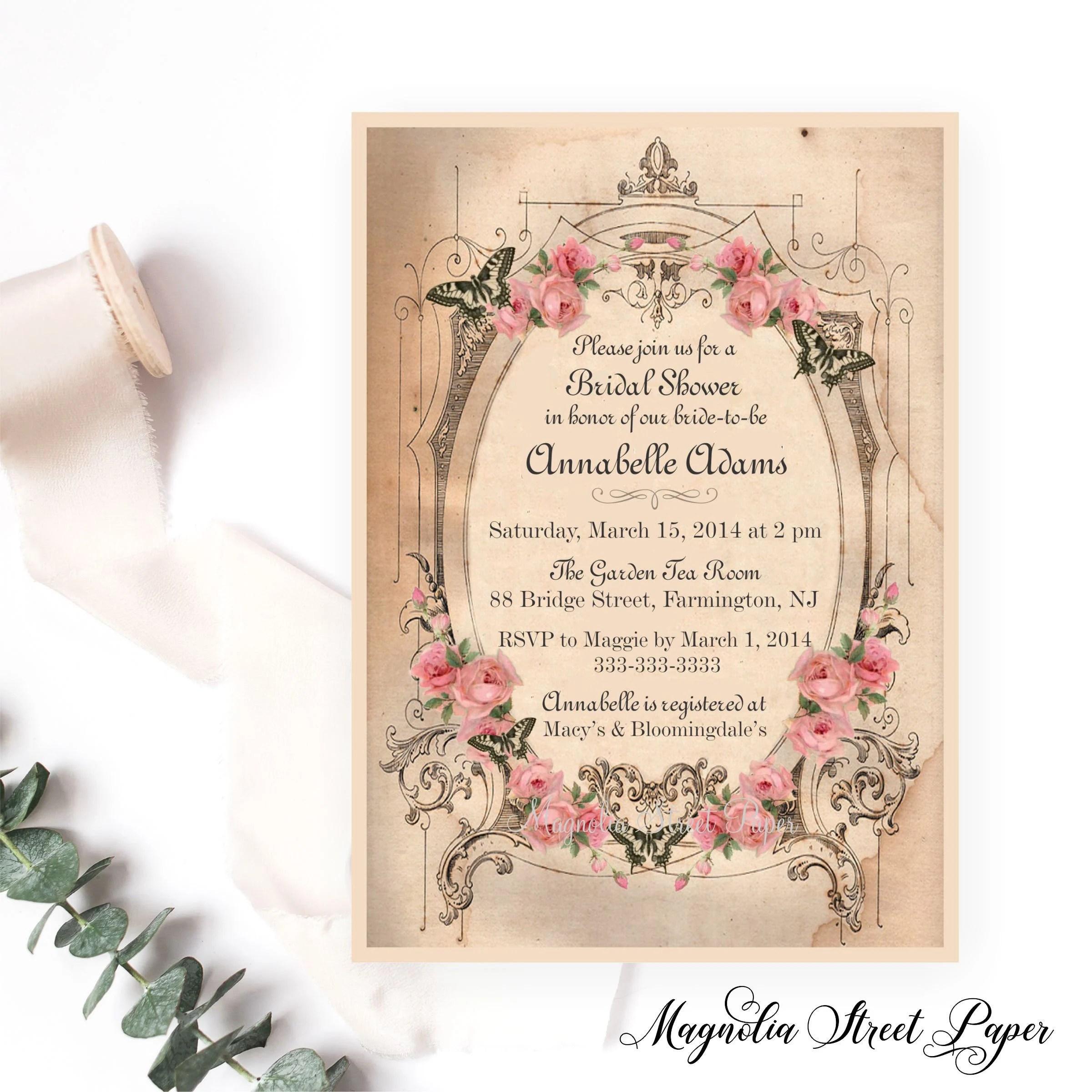 Vintage Shabby Chic Bridal Shower Invitation, Pink / Blush Roses and