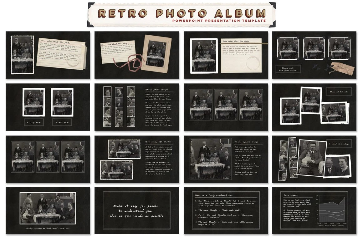 Scrapbook Memories Powerpoint Template Collection including Etsy