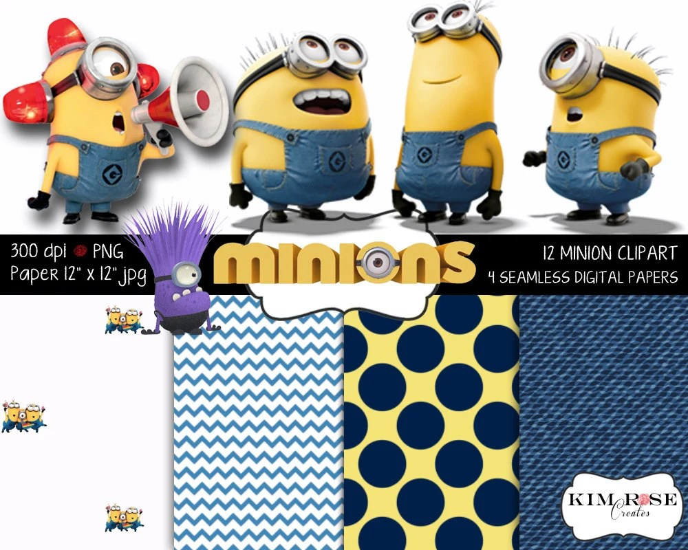 Minion Digital Paper and Clipart Set 4 papers 12 clipart Etsy