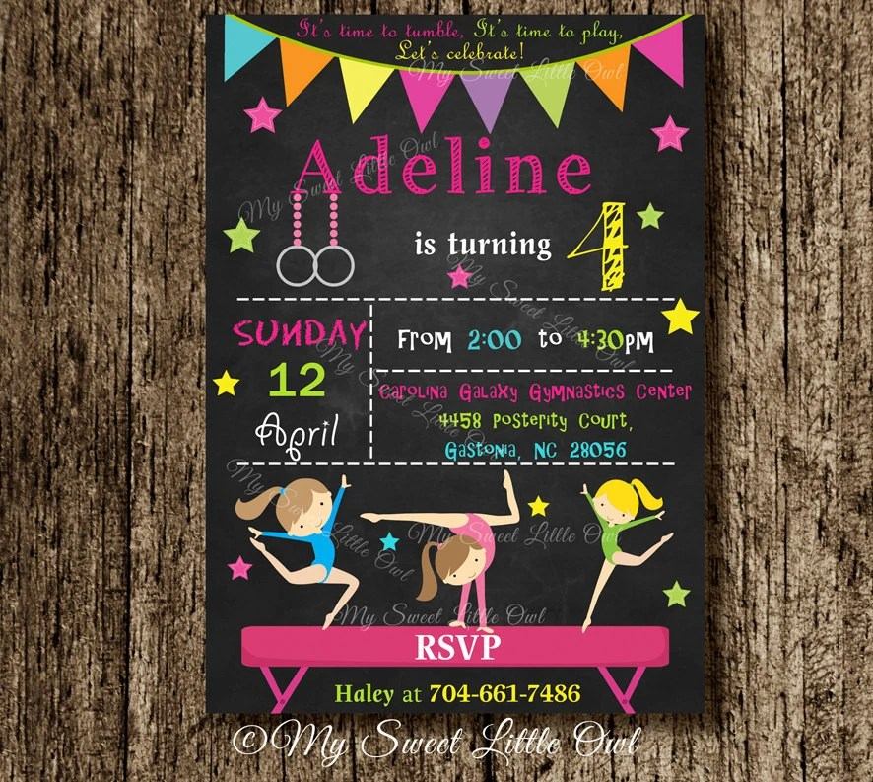 Gymnastics chalkboard invitation birthday invitation Etsy