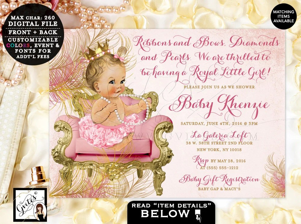 Blush pink and gold royal princess baby shower invitations, vintage