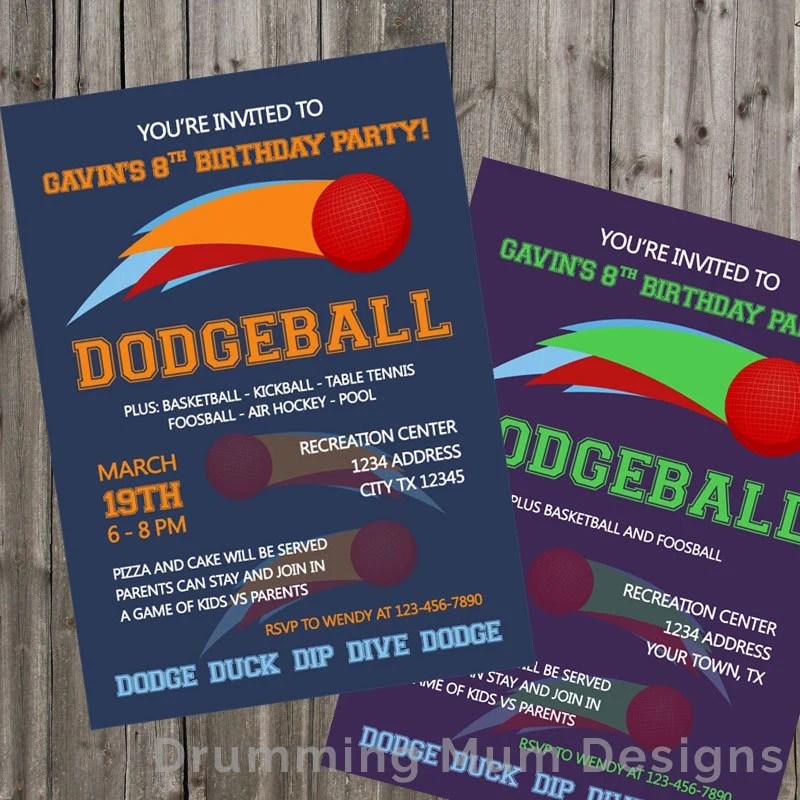 Dodgeball Birthday Invitation Dodgeball Invite Birthday Party Etsy