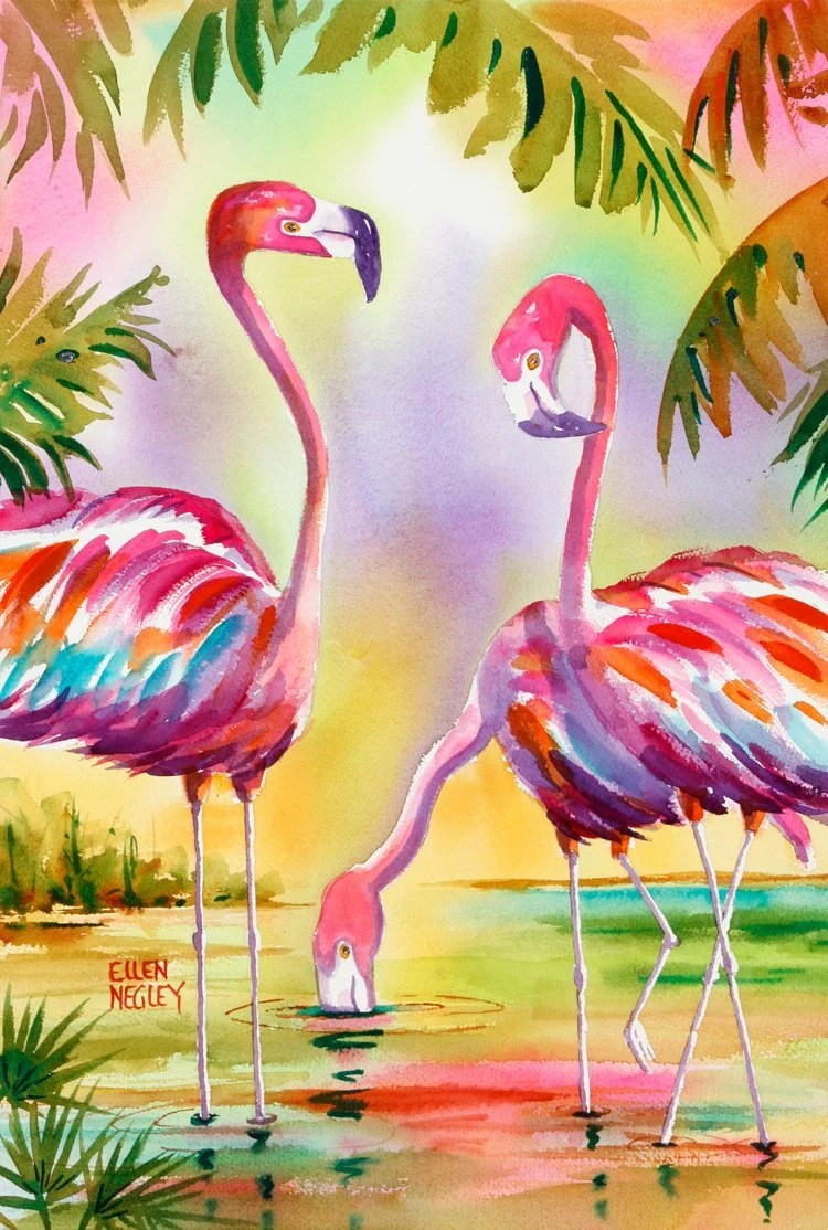 Peinture Flamant Point De Vente Flamant Rose Peinture Flamant Rose Art Impression Flamant Rose Floride Oiseau Aquarelle Oiseau Impression Palm Tree Print Ellen Negley Key West