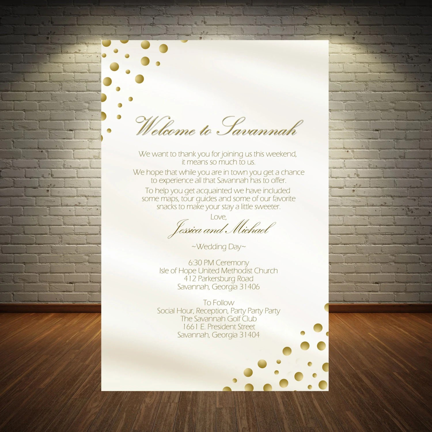 20 gold dot printed stationery Wedding Itinerary ceremony Etsy