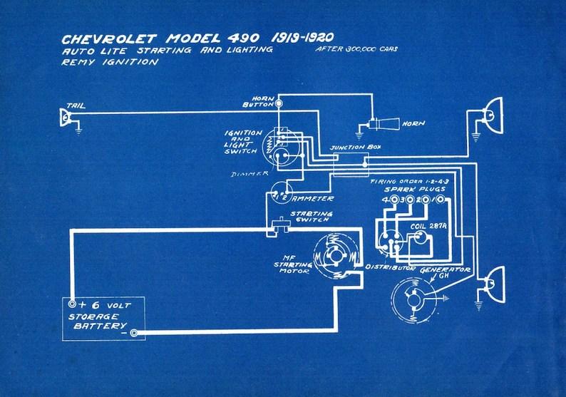 1927 Antique Blueprint Auto Car Chevrolet Engineering Etsy