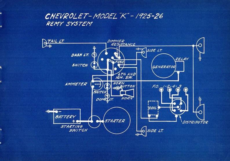1927 Antique Blueprint Auto Car Chrysler Chevrolet Engineering Etsy