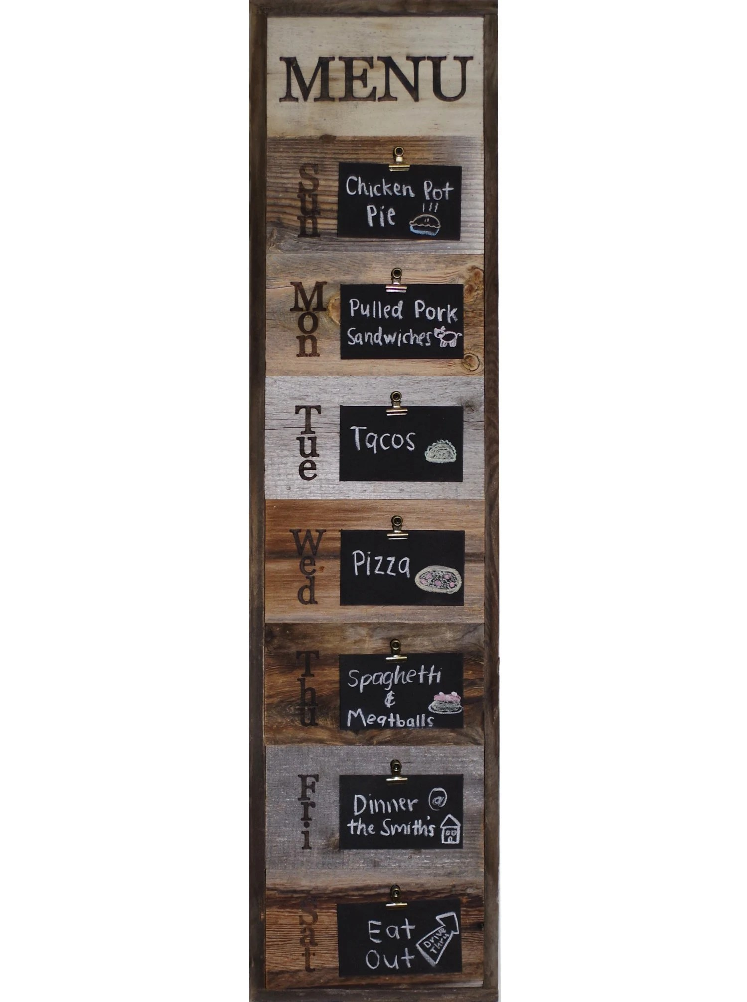 Vertical Wood Slat Wall Reclaimed Wood Weekly Menu Board With Clips And Mini Chalkboard Slats Vintage Farmhouse Kitchen Display Sign Rustic Decor