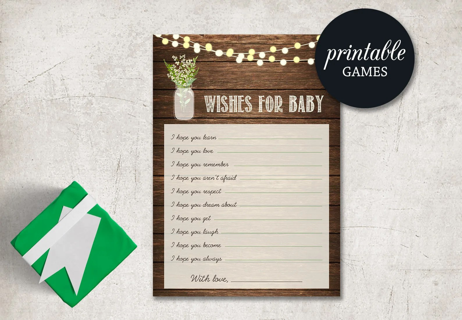 Wishes for baby card Printable baby shower game Rustic Baby Etsy