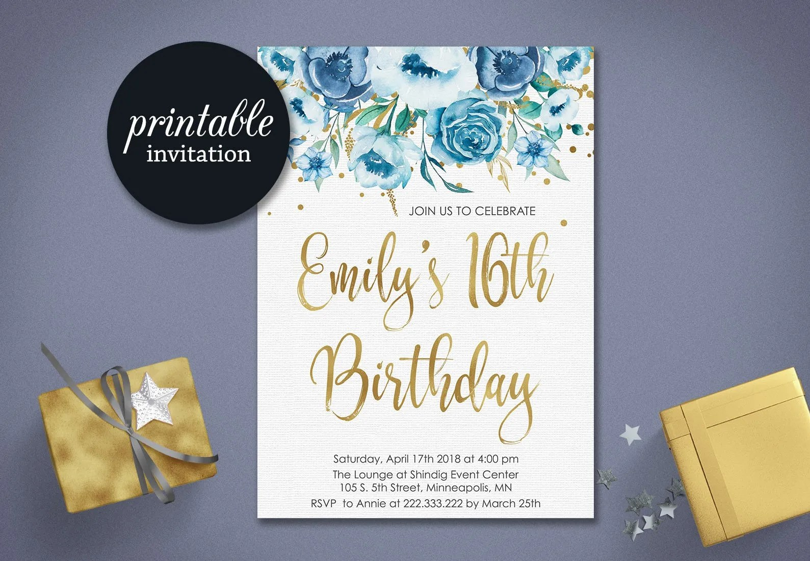Printable Sweet 16 Invitation Sweet Sixteen Birthday Etsy