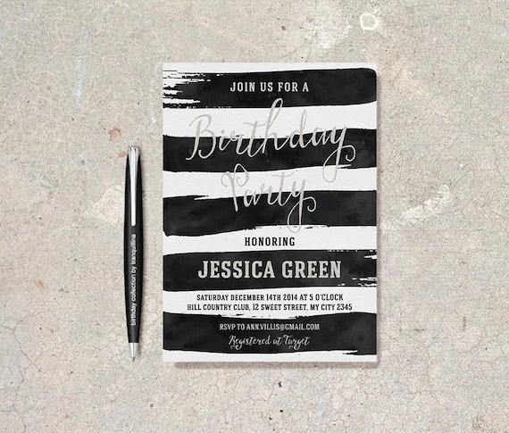 Black and White Birthday Invitation Printable Modern Etsy