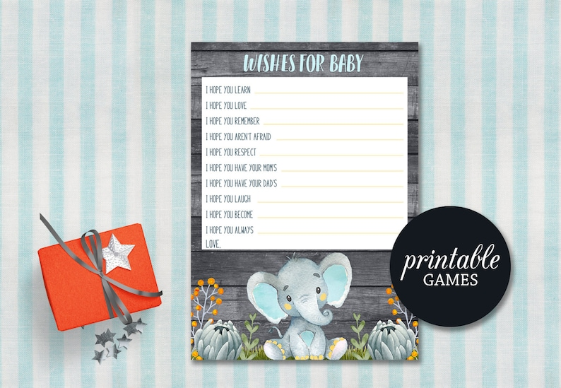 Wishes for baby Boy Elephant baby shower game Printable Wishes Etsy