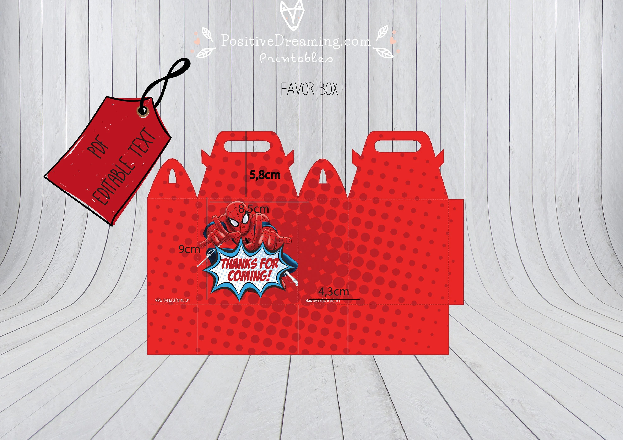 Spiderman Printable Favor Bag, Spiderman editable Favor Box