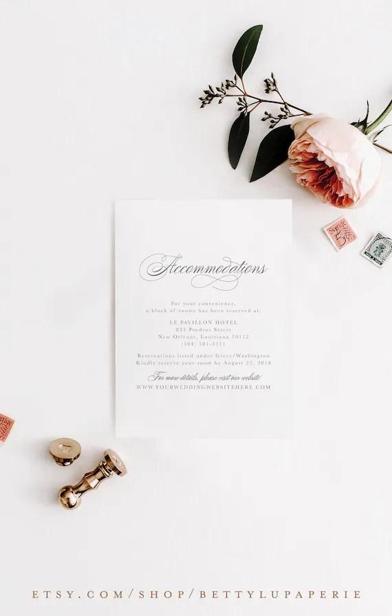 Fine Art Wedding Invitation Insert Card c17 Etsy