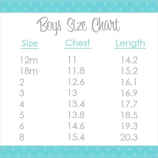 Boy\u0027s Shirt Size Chart Visual Information Only PLEASE Etsy