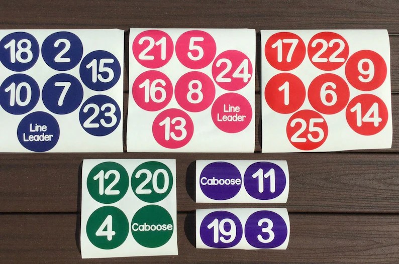 Vinyl Classroom Line Up Number Decals with Line Leader and Etsy