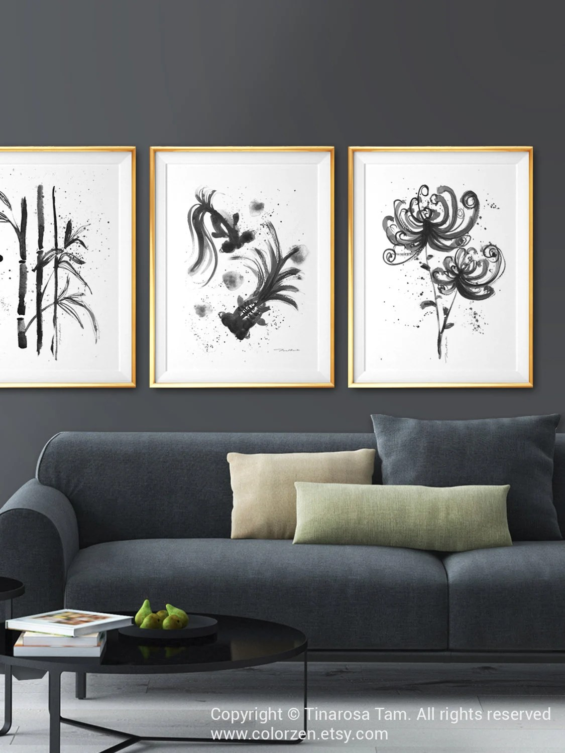Black And White Artwork For Bedroom Botanical Print Set Of 3 Prints Asian Wall Art Black And White Art Asian Decor Living Room Decor Chinoiserie Art Bedroom Wall Art Bamboo