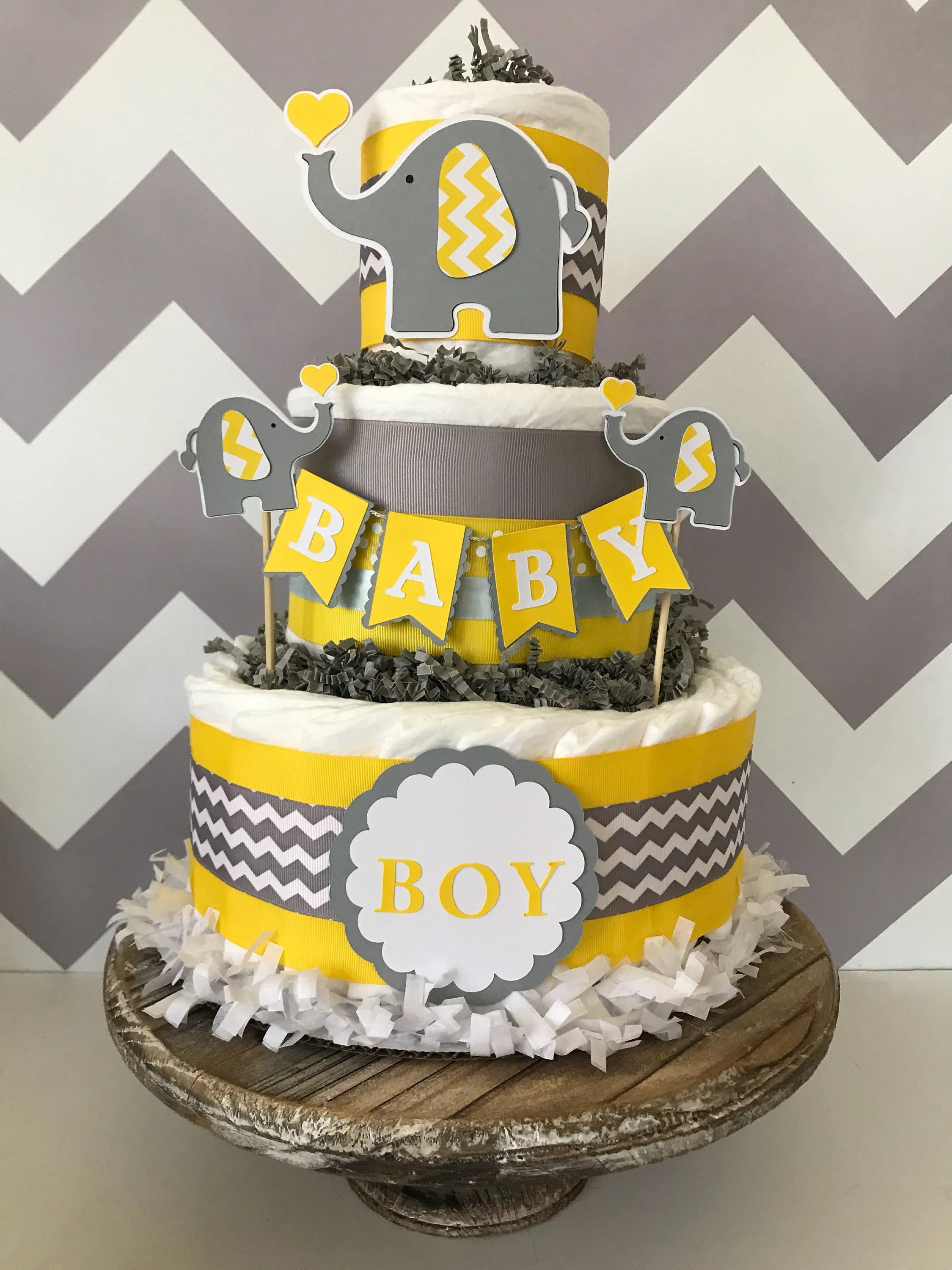Baby Select Diapers Elephant Diaper Cake In Yellow Gray And White Elephant