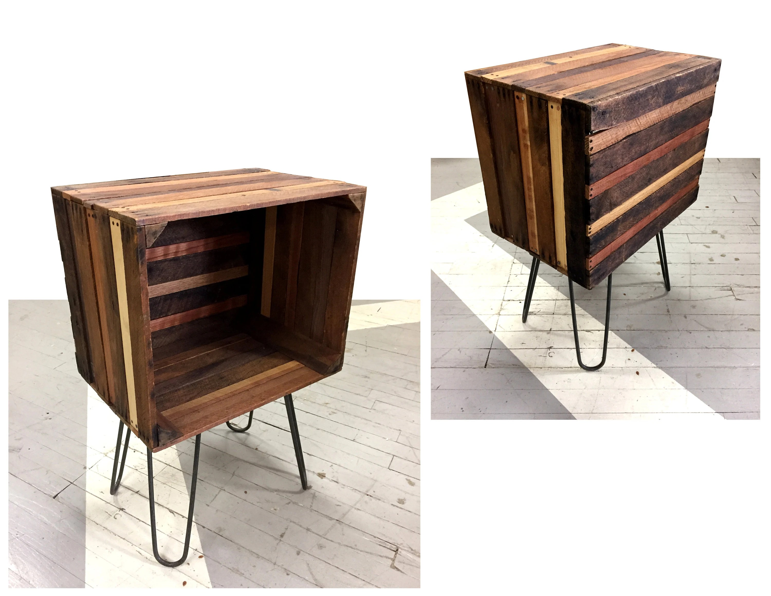 Rustic Wood End Table Rustic Wood Crate End Table Night Stand Bookshelf