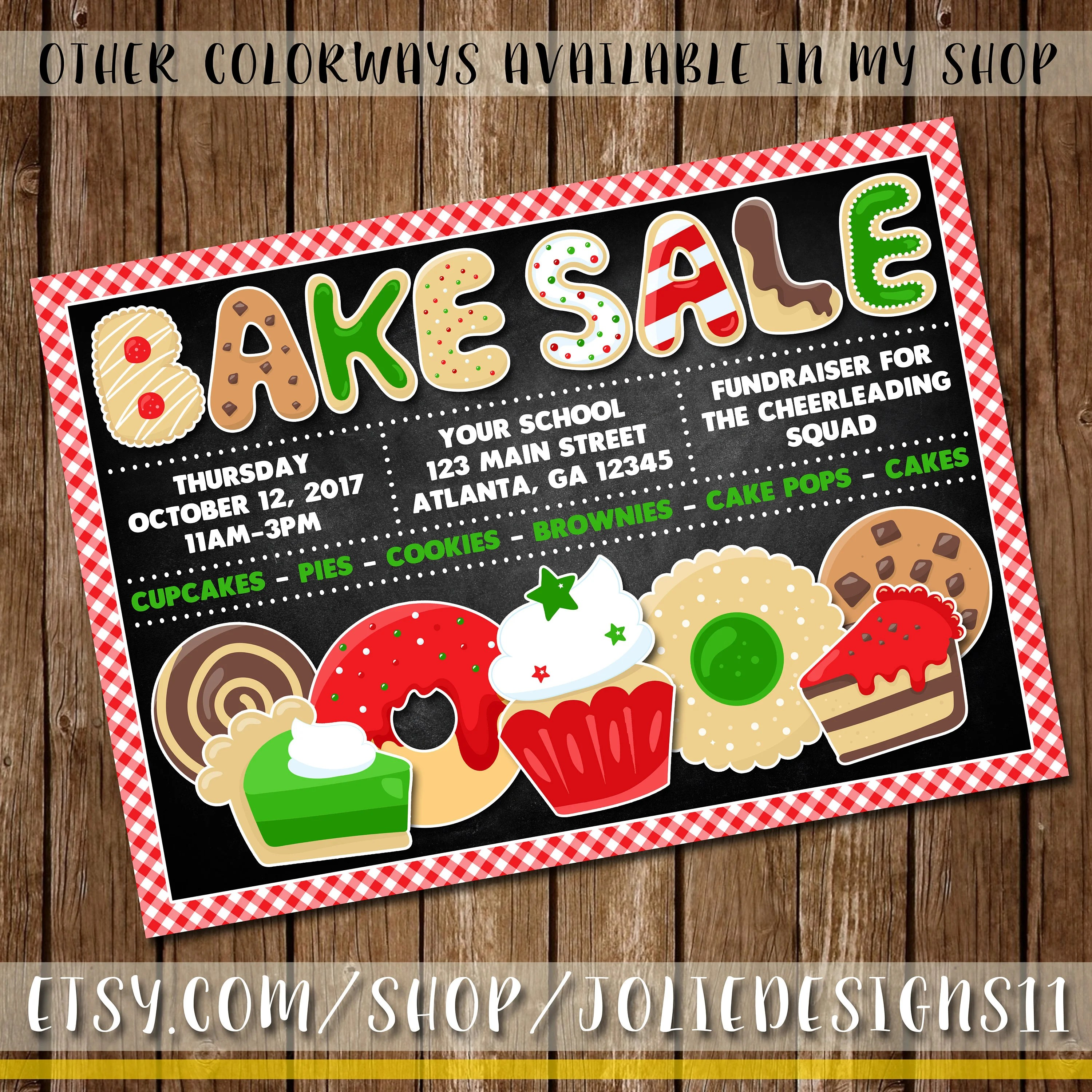 Bake Sale Flyer School Fundraiser/Charity Event Etsy
