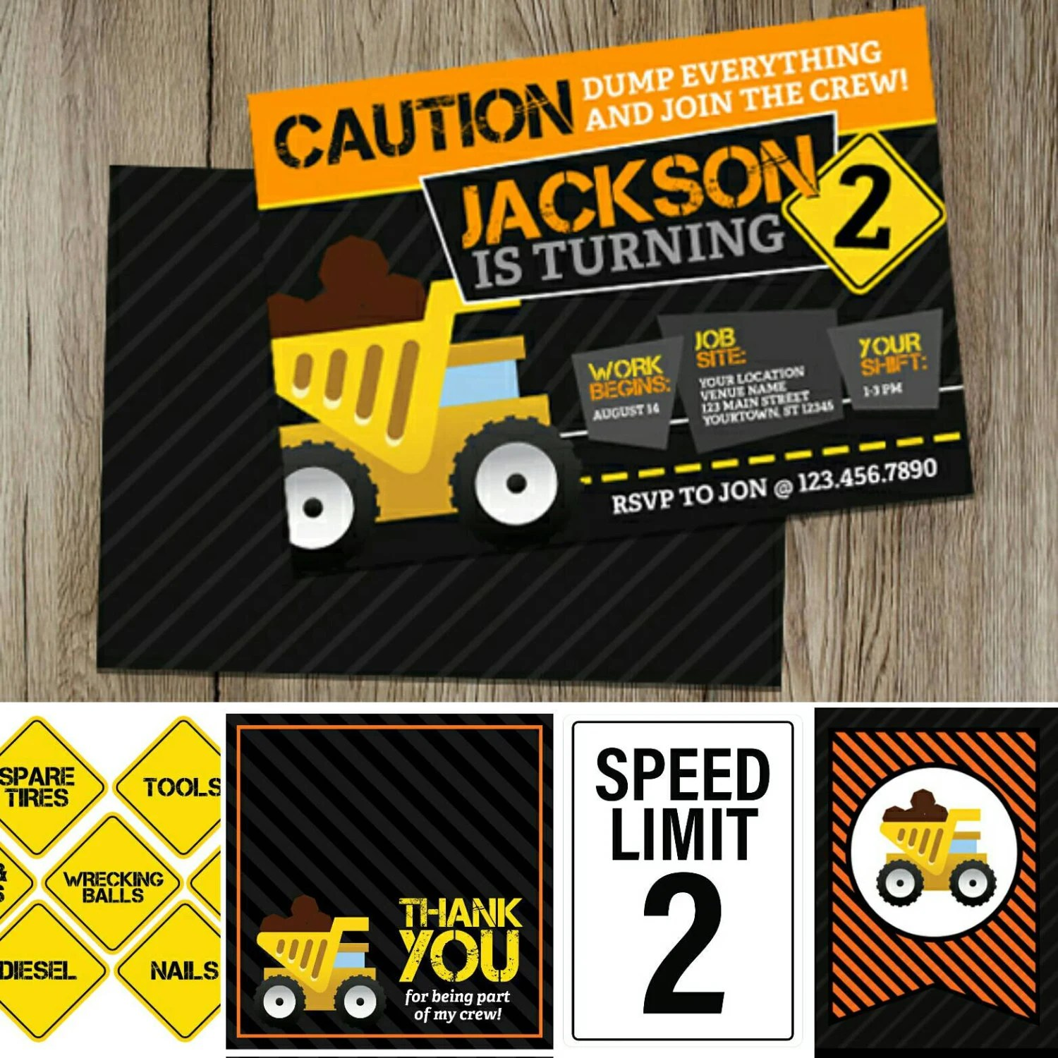 PRINTABLE Construction Truck Birthday Set for instant Etsy