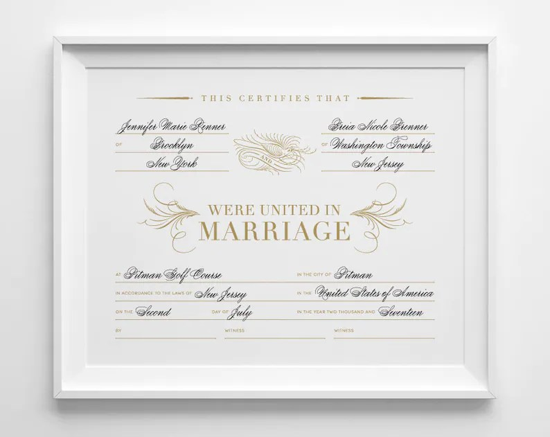 Custom Marriage Certificate Personalized Wedding Keepsake Etsy