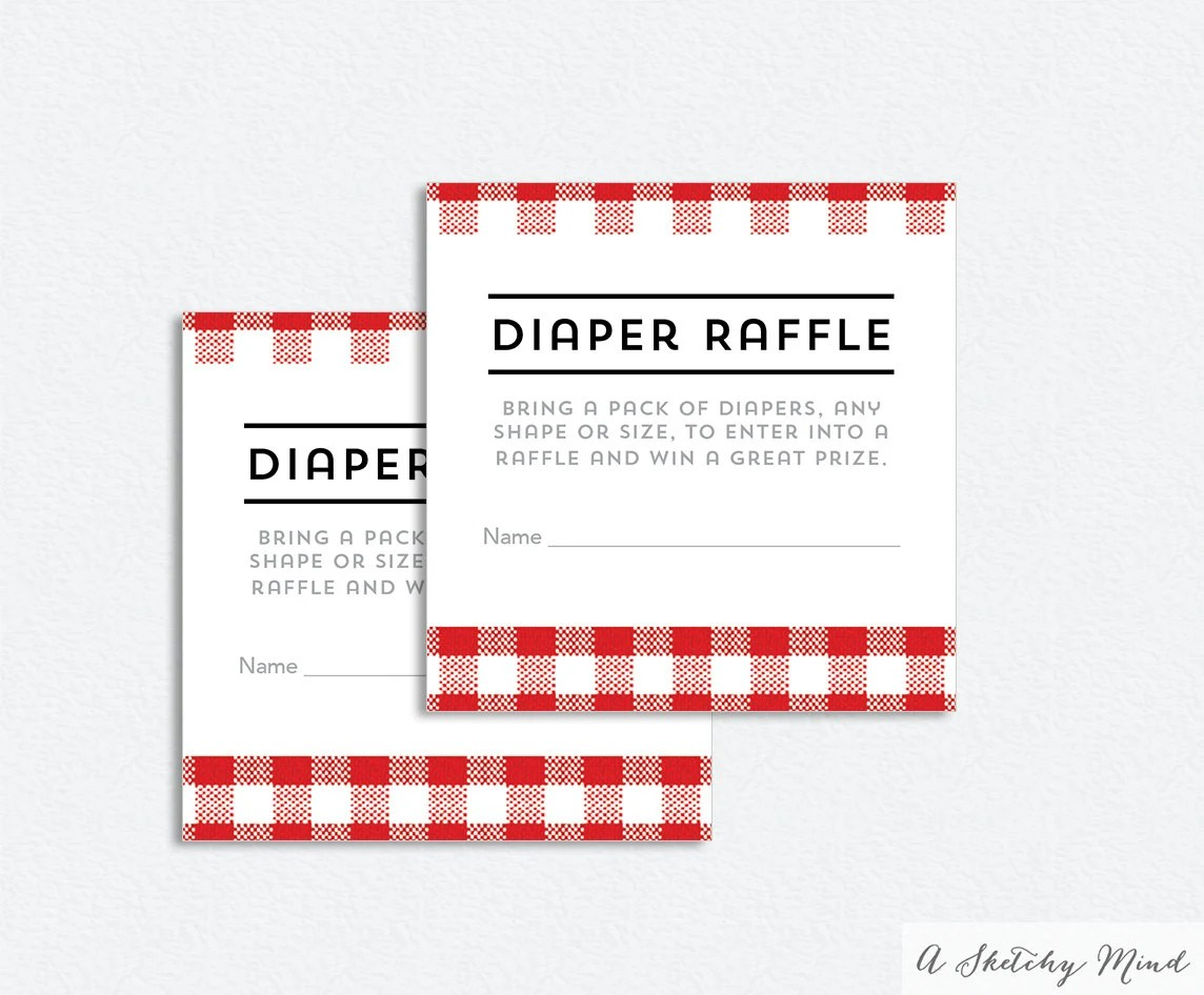 BBQ Diaper Raffle Ticket Printable Red Checkered Diaper - raffle ticket print out