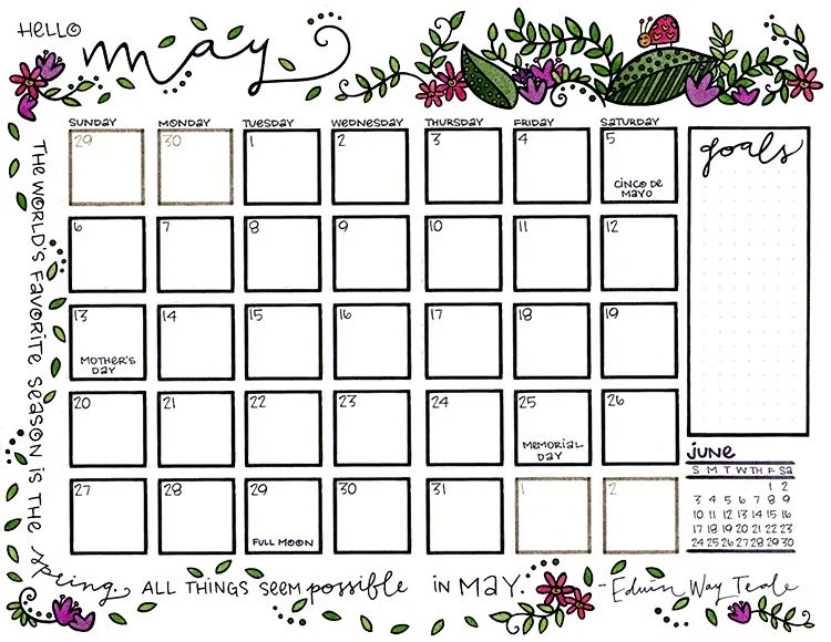 Colorable May 2018 Flowers and Spring Leaves with Smiling Love Etsy