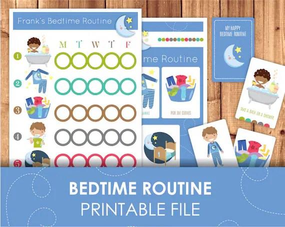 Printable Bedtime Routine Checklist Daily Schedule / Children Daily