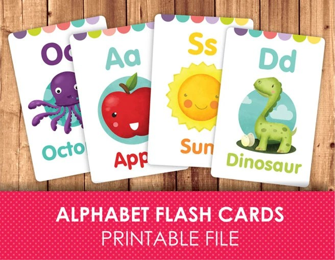 Flashcards for Kids / Printable Flash Cards / ABC FlashCards / Etsy