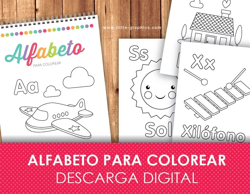Printable Spanish Alphabet Coloring Pages by Little Graphics Catch
