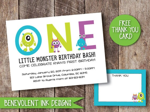 Monster First Birthday Invitation Monster Theme Party Invite Etsy